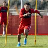 Juan Camilo 'Cucho' Hernández durante un entrenamiento con el Mallorca.