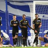 Jugadores del Manchester City celebrando uno de los goles del triunfo.