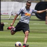El volante colombiano Víctor Cantillo en un entrenamiento del Corinthians.