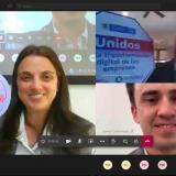 Aspecto de la videoconferencia entre Karen Abudinen, ministra de las TIC, y Julián Domínguez. presidente de Confecámaras.