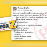 Supermercados Merca Z no están ofreciendo empleos por el coronavirus
