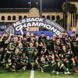 La celebración de los campeones de la Major League Soccer de Estados Unidos. En el grupo aparecen los hermanos Chará.