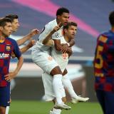 Thomas Müller celebra uno de sus tantos con el Barcelona.