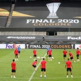 Sevilla durante una sesión de entrenamiento previo a la final de la Europa League.
