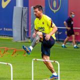 Lionel Messi en un entrenamiento con el FC Barcelona.