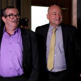 Rodrigo Londoño, 'Timochenko', líder del partido Farc, y Julián Gallo, senador del ahora grupo político, conocido como Carlos Lozada.