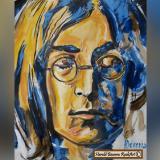 El rostro de Lennon pintado por el artista barranquillero Harold Becerra.