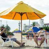 Wilmar García  y Daniel Martínez, turistas pereiranos asistieron al sector el Bonny, reabierto este viernes.