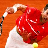 El serbio Novak Djokovic en acción en la final.
