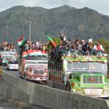 La Minga indígena, que salió el 15 de octubre de Cali, llegó a Bogotá este domingo.