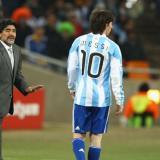 Lionel Messi, durante el Mundial de 2010, cuando Diego Maradona digirió a la Selección Argentina.