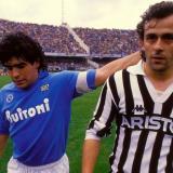 Maradona y Platini fueron contrincantes en el terreno de juego.