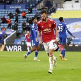 Bruno Fernandes celebra su anotación frente al Leicester.