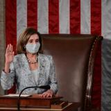Nancy Pelosi durante la ceremonia de reelección.