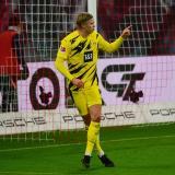 Haaland, celebrando un gol ante el Leipzig.