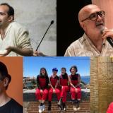 Arriba de izquierda a derecha: los escritores Emmanuel Carrère, Giuseppe Caputo e Isabel Allende. Abajo: el actor Javier Bardem, el periodista Juan Gossaín y Las Tesis, colectivo feminista.