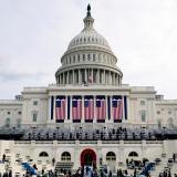 Aspecto general del Capitolio y la zona de las escalinatas donde mañana se realizará el acto de posesión de Joe Biden como Presidente de Estados Unidos.