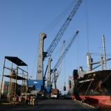 Aspecto de un barco en muelle de la sociedad Puerto de Barranquilla.