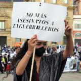 Vista de una manifestación a  favor de los ex-Farc.