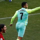 El colombiano Luis Javier Suárez celebrando el gol que le anotó al Osasuna.