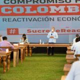 El presidente Iván Duque en su encuentro de ayer en Coveñas, Sucre.
