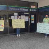 Aspecto del plantón realizado por los docentes de la Institución Educativa.