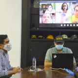 El alcalde William Dau en la reunión virtual con la viceministra (e) de Transporte, María del Rosario Oviedo.