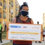 Una beneficiaria del subsidio de vivienda en Los Manantiales, en Soledad.