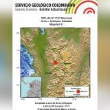 Reportan sismo de magnitud 5.1 con epicentro en Urrao