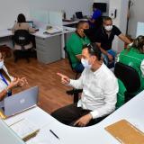 Aspecto de la jornada de conciliación en la sede de la Superintendencia de Salud en el norte de Barranquilla.