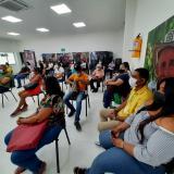 Funcionarios de Familias en Acción de Cartagena cuando recibían socialización sobre puntos de atención para encuesta del nuevo Sisbén.