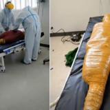 Creyeron que murió por covid-19 y en el hospital lo envolvieron con cinta adhesiva