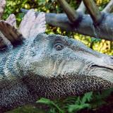 Hombre quedó atrapado dentro de una estatua de un dinosaurio