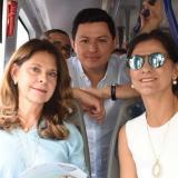 La vicepresidenta se estrena en Cartagena uno de los nuevos buses de Transcaribe