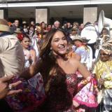 Valeria Abuchaibe, reina del Carnaval de Barranquilla, durante la muestra cultural en Uruguay.