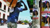 Publicidad política ubicada en una calle de Sincelejo donde se aprecia el afiche de la esposa de Acuña, Milene Jaraba, candidata a la Gobernación de Sucre.