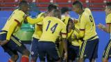 Los jugadores de la Selección sub-23 celebran uno de los tantos anotados por el cartagenero Roger Martínez.