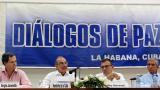 De izquierda a derecha, el alto comisionado para la Paz, Sergio Jaramillo; el jefe del equipo negociador del Gobierno, Humberto de la Calle, y el senador Roy Barreras, durante la lectura de un comunicado.
