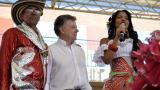 El presidente Juan Manuel Santos durante la inauguración del colegio.