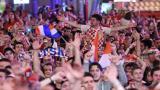Los croatas celebrando su clasificación a la final del Mundial de Rusia 2018.