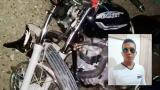 Así quedó una de las motos tras el accidente. En el recuadro, Eduardo Luis Ahumada Vides, una de las víctimas.