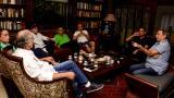 De izquierda a derecha: Eduardo Verano, Cecilia Arango, Mauricio Gómez, Miguel Amín, Efraín Cepeda, Luis Eduardo Díaz Granados y Armando Zabaraín, durante la reunión de ayer.