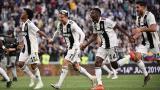 Cuadrado celebra junto a Cristiano Ronaldo, Blaise Matuidi y Emre Can.