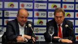 Ramón Jesurun, presidente de la FCF, junto a Jorge Enrique Vélez, presidente de Dimayor.
