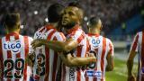 Miguel Borja celebra un gol con el Junior en la Liga BetPlay I-2020.