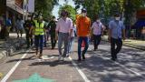 El alcalde Jaime Pumarejo y la secretaria de Tránsito durante la apertura del nuevo corredor.