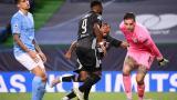 Moussa Dembele celebra uno de los tres tantos del Lyon frente al Manchester City.