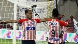 Miguel Borja celebrando el gol que abrió el marcador. Se une Teófilo Gutiérrez al festejo.