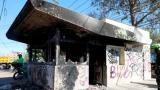 Aspecto de uno de los CAI vandalizados en Bogotá.