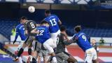 Acción del gol anotado por Yerry Mina en una pelota levantada por James Rodríguez.